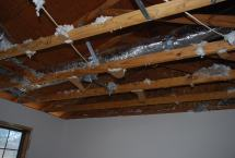 Demo drywall ceiling on second floor