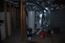 Relocated mechanical equipment in the Basement