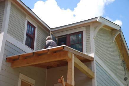 Back porch roof - hiding the electrical to the future ceiling fan