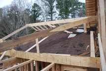 Hip rafter continues up to shape the roof