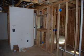 Framing for media cabinet upstairs