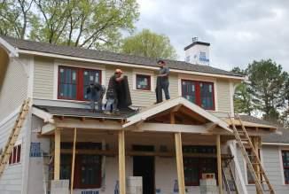 Roofing felt going on - before the rain
