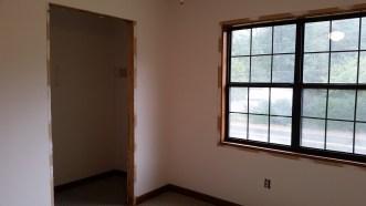 Door and window casing removed
