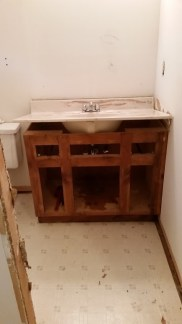 Upstairs vanity ready to remove