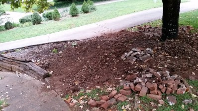 Bricks removed - view from Front Porch