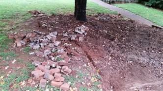 Digging up brick border