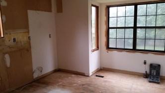 Kitchen trim and vinyl flooring removed
