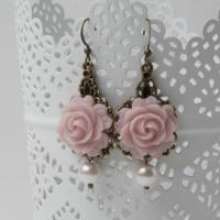 Dusty Rose Bridesmaid Earrings, Dusty Rose Wedding Jewelry