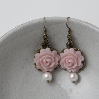 Dusty Rose Bridesmaid Earrings, Dusty Rose Wedding Jewelry