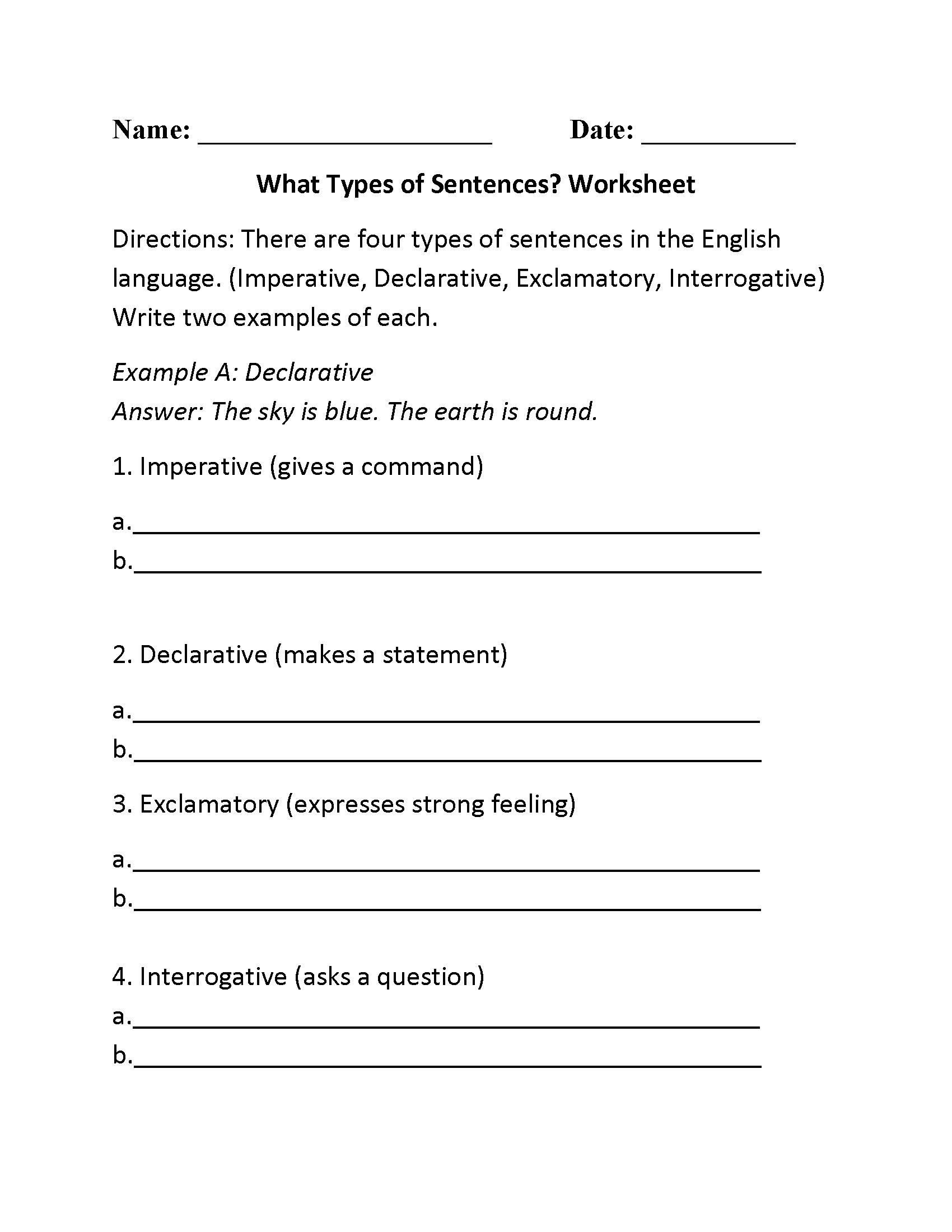 Declarative Sentence Worksheet Grade 2