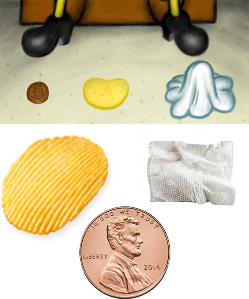 Spongebob Chip Penny Napkin : spongebob, penny, napkin, Steal, Look:, Chip,, Penny,, Napkin, Rare...