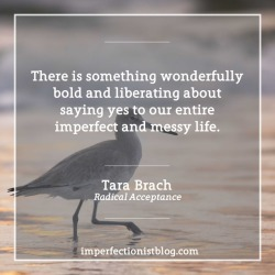 """#353 - """"There is something wonderfully bold and liberating about saying yes to our entire imperfect and messy life."""" - Tara Brach (Radical Acceptance)"""