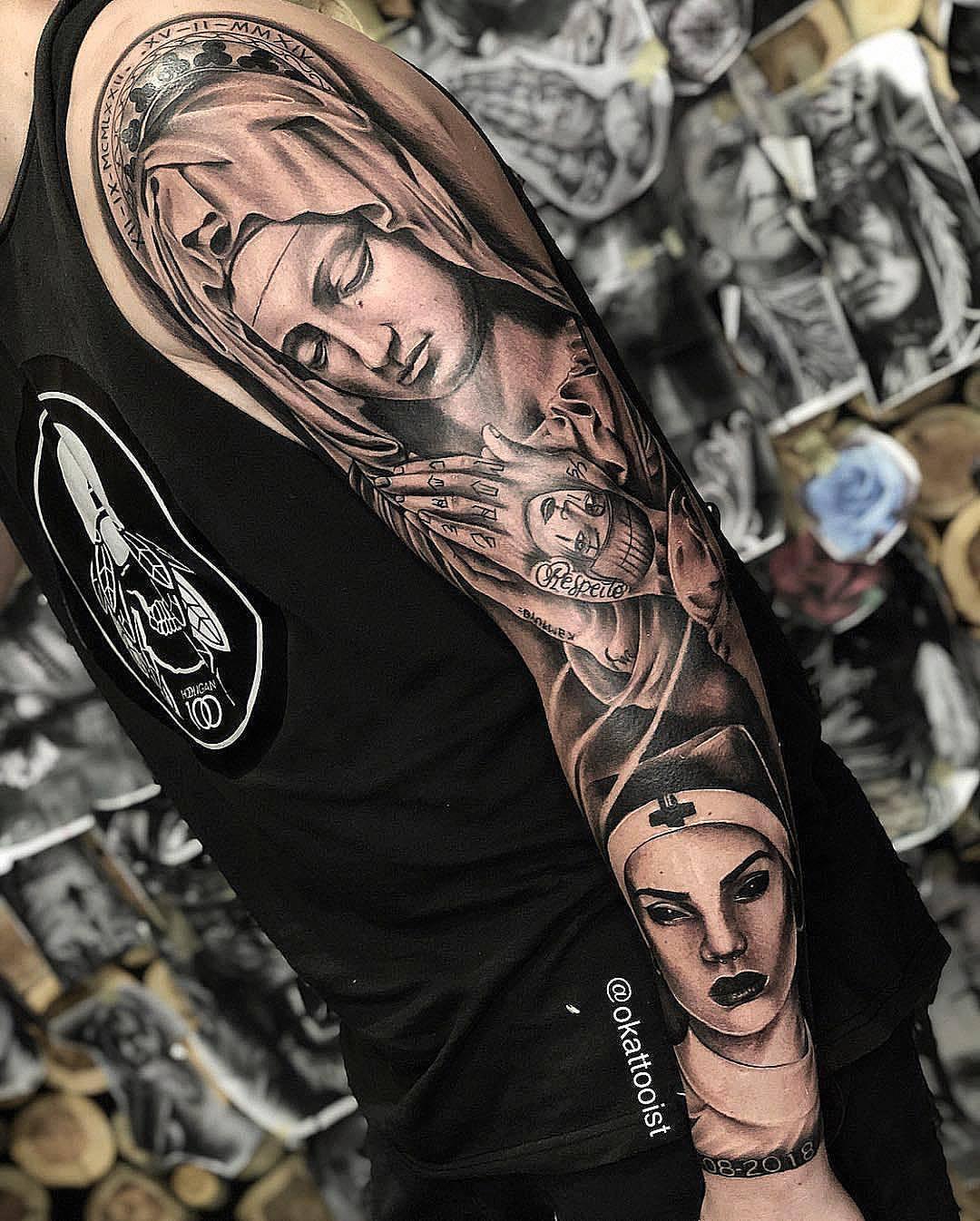 Nurse Tattoo Sleeve : nurse, tattoo, sleeve, Amazing, Artist, Tattooist, @okatattooist, Awesome...