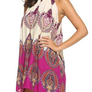 Women's Casual Sleeveless Halter Neck Boho Print Short Dress Sundress. I added a belt to add... , Mon, 24 Aug  2020 19:12:46 +0100