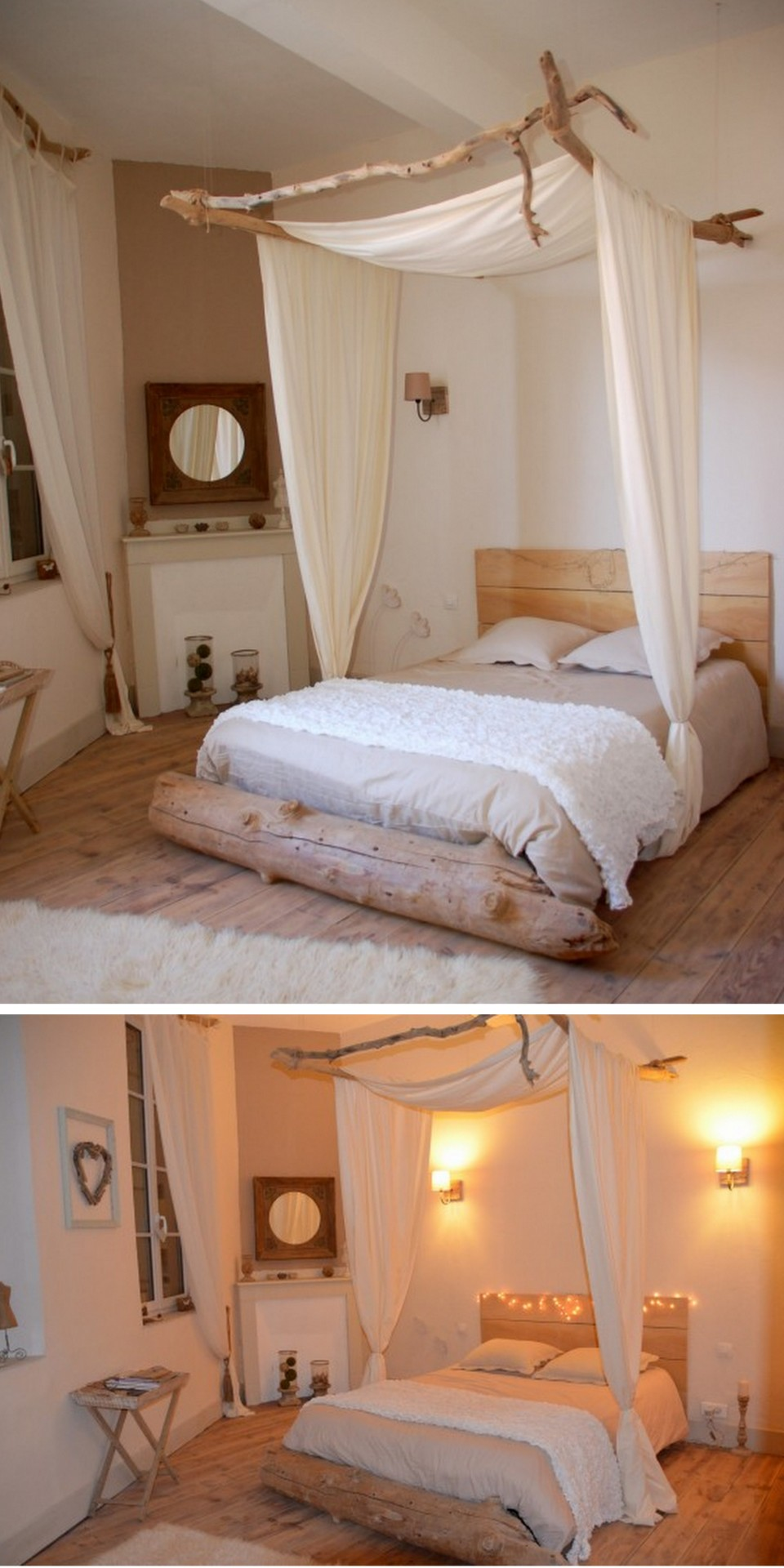 diy driftwood canopy bed from cote