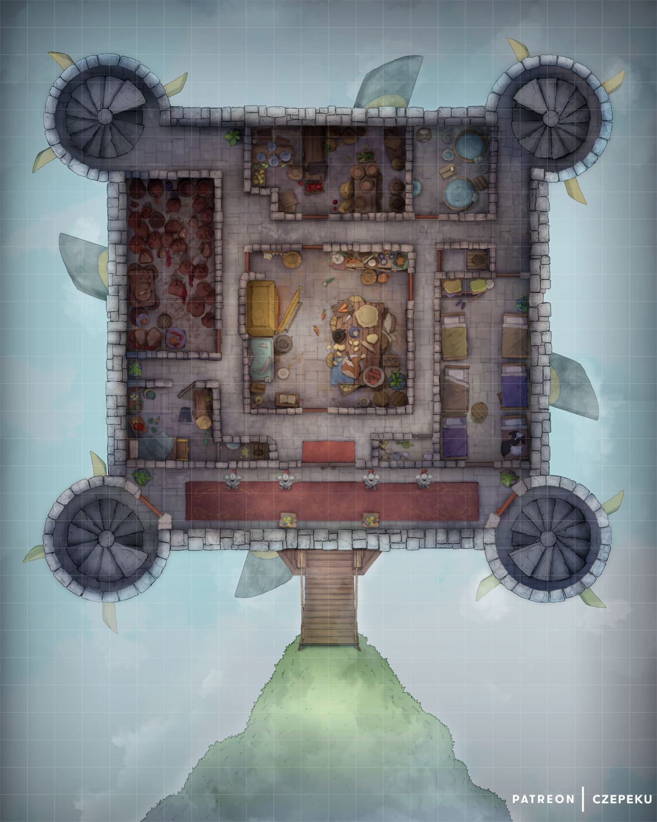 Dnd Fort Map : Czepeku's, Flying, Fortress, Battlemap, [24x30], This...