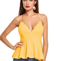 Women's Sexy V Neck Backless Camisole Scalloped Peplum Cami Top. Super cute. I am going to order in another co lor. The back is very low so you cannot wear a bra without it showing. I did get the paste on bra but I haven't worn i t yet. If you have a chest you can easily go without a bra. The material is great and not thin. I don't have a chest a nd it doesn't make me look flat. If the paste on bra is a hassle I will go without it and will be fine. Fri, 23 Oct 20 20 04:48:28 +0400