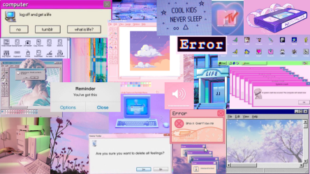laptop wallpapers aesthetic collage pink error computer message popup windows retro posts personalized light