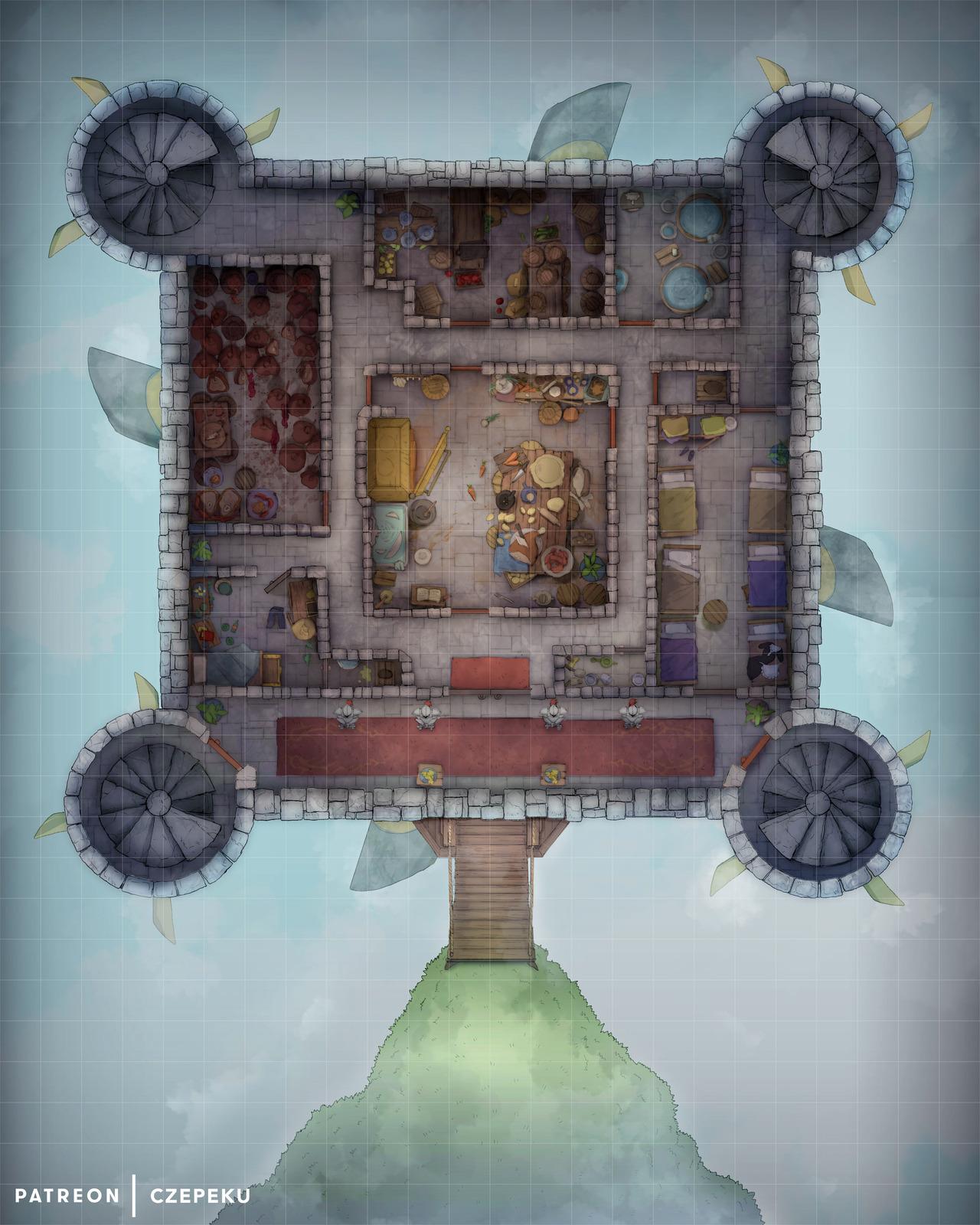 Dnd Castle Map : castle, Czepeku's, Flying, Castle, Battlemap!, For...
