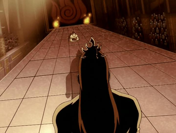Zuko kneeling in front of Ozai