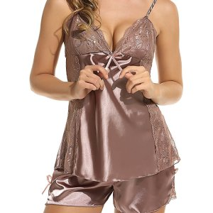 Women Sexy V Neck Sleepwear Silk Satin Chemises Lingerie Halter Babydoll Nightdress Set. This two... , Sat, 01 May 2021 09:36:28 +0100