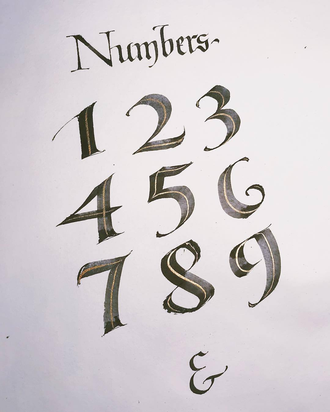Gothic Calligraphy Numbers : gothic, calligraphy, numbers, CALLIGRAPHY, EVERYDAY, Numbers, #huyhoangdao, #calligraphy...