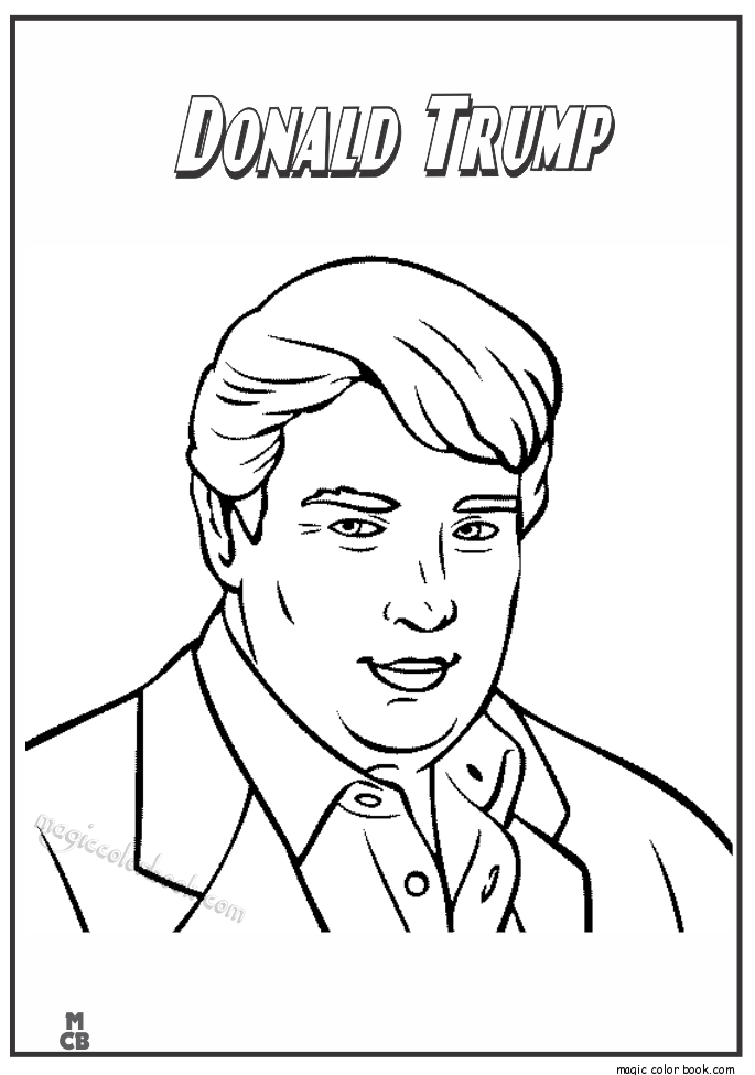 Magic Color Book Famous People Coloring Pages Donald Trump