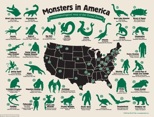Texas detests oklahoma, but you already knew that. Monsters In America A Cryptozoological Map Of The Maps On The Web