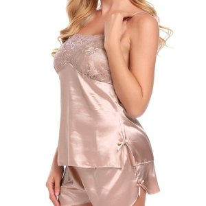 Women Sexy V Neck Sleepwear Silk Satin Chemises Lingerie Halter Babydoll Nightdress Set. This two... , Sat, 01 May 2021 14:24:31 +0100