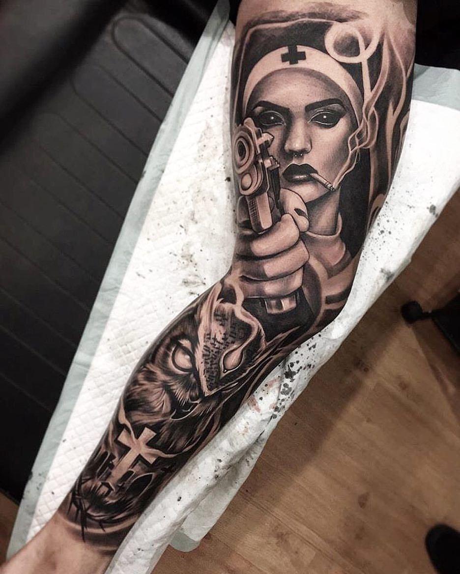 Nurse Tattoo Sleeve : nurse, tattoo, sleeve, Amazing, Artist, @dodepras_tattoo, Awesome...