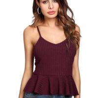 Women's Sexy V Neck Backless Camisole Scalloped Peplum Cami Top. Super cute. I am going to order in another co lor. The back is very low so you cannot wear a bra without it showing. I did get the paste on bra but I haven't worn i t yet. If you have a chest you can easily go without a bra. The material is great and not thin. I don't have a chest a nd it doesn't make me look flat. If the paste on bra is a hassle I will go without it and will be fine. Thu, 22 Oct 20 20 19:12:53 +0400