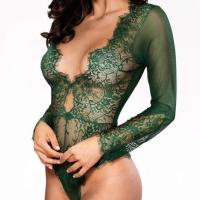 Women Sexy Lingerie Long Sleeve Bodysuit Lace Deep V Bodysuit Lingerie Sheer Teddy Lingerie. SEXY DESIGN–Deep  V design with lace rim, floral sheer lace, flower mesh, the lace bodysuit make you sexy, erotic, flexible, spice up your  nightlife. LACE BODYSUIT FIT PERFECTLY—this teddy lingerie is super stretchy one piece bodysuit,super good lingerie o utfit for women ,it is easy and fitted to wear,also can make a slimming effect and enhance your curves. Wed, 28 Oct 2020  04:48:36 +0400