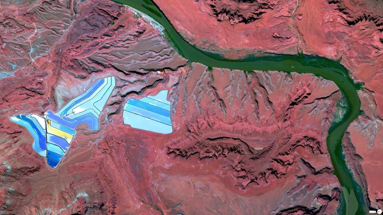 Settling ponds of Intrepid Potash mine Moab, Utah 38°29'0.16″N 109°40'52.80″W