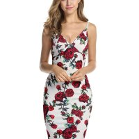 "Women Spaghetti Strap Bodycon Dress V Neck Floral Bandage Midi Dress. ""must-have"" item for your sexy wardrob e, Stylish, fashion and unique design. It is very comfortable to touch and wear. Ideal gift for your family, lover and f riend , Suitable wear in summer, autumn and Spring, winter. We provide a variety of dresses, skirts, t shirt, tops, shor ts, jacket, please click on our brand Meaneor for more great styles. Mon, 08 Feb 2021 19:12:42 +0400"