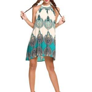 Women's Casual Sleeveless Halter Neck Boho Print Short Dress Sundress. I added a belt to add... , Tue, 25 Aug  2020 09:36:44 +0100