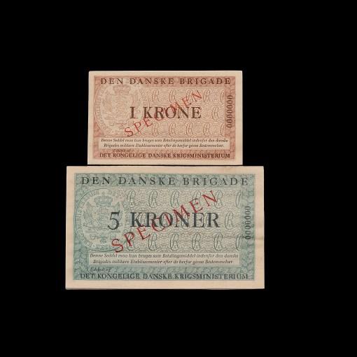 Den Danske Brigade : 1 og 5 kroner Specimen