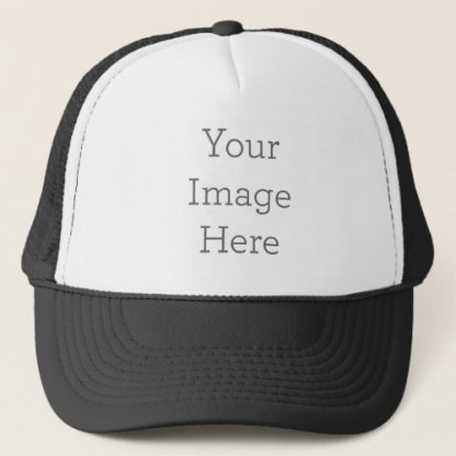 create your own trucker hat, black with white front pane.