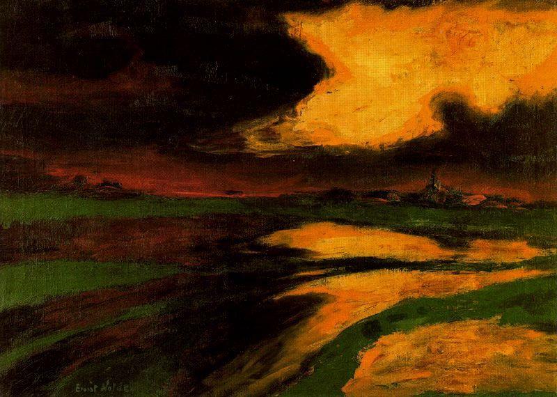 """blue-voids: """" Emil Nolde - Atardecer de Otoño, 1926 """""""