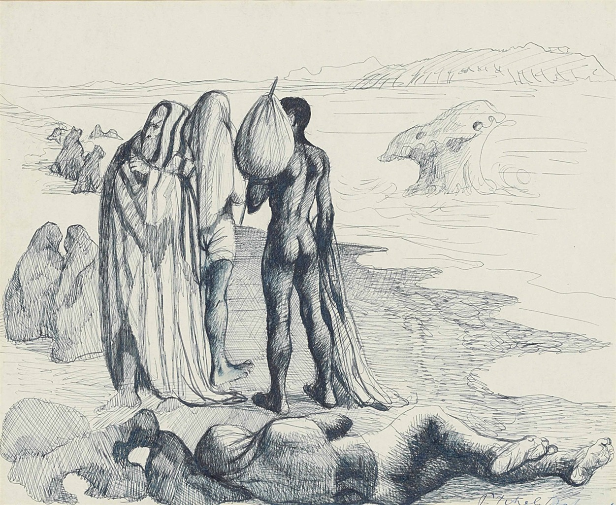 """thunderstruck9: """"Pavel Tchelitchew (Russian, 1898-1957), Figures on a beach, 1943. Ink on paper, 36 x 43 cm. """""""