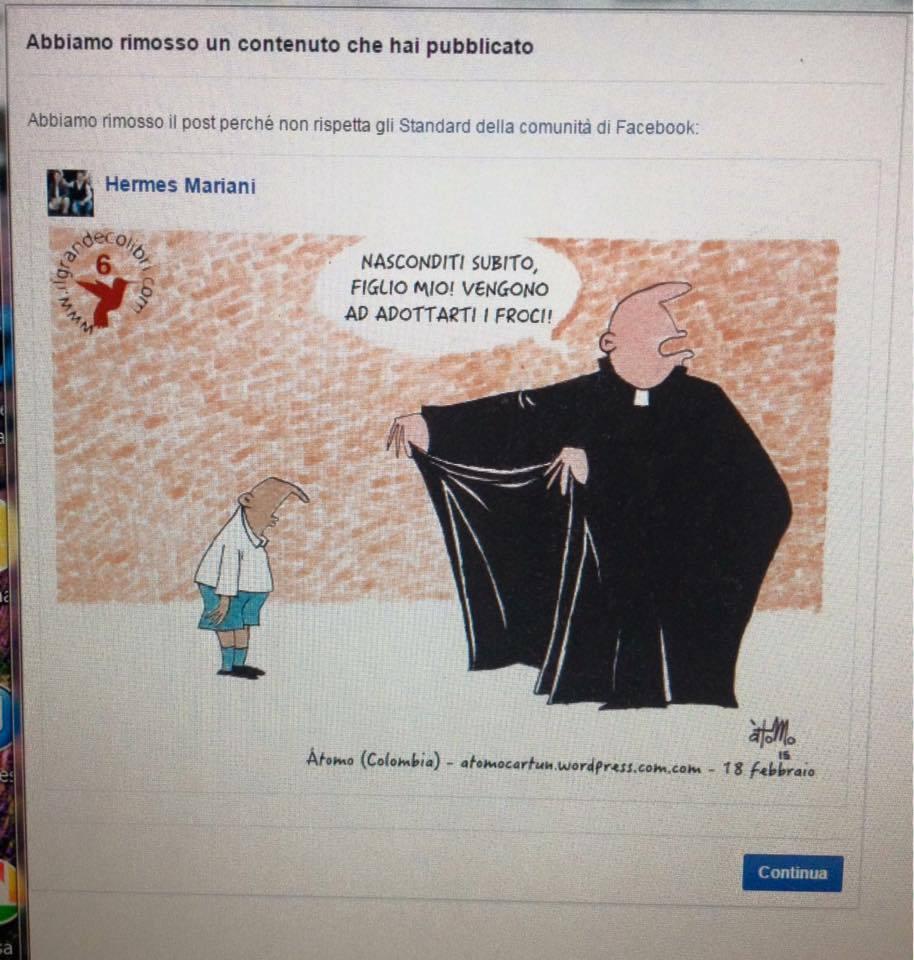 Una vignetta satirica contro l'ipocrisia della Chiesa Cattolica che per anni ha nascosto gli abusi sessuali sui minori compiuti da suoi esponenti e che in nome della tutela dei minori è contraria alla legalizzazione delle unioni civili tra persone...