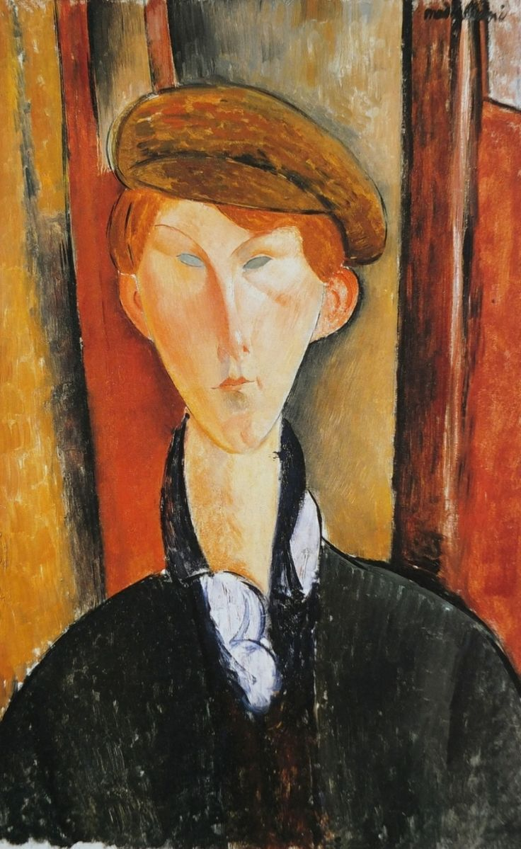 """huariqueje:""""  Young man with Hat - Amedeo Modigliani , 1909.\Italian, 1884-1920Oil on canvas, 61 × 37.8 cm.Detroit Institute of Arts"""""""