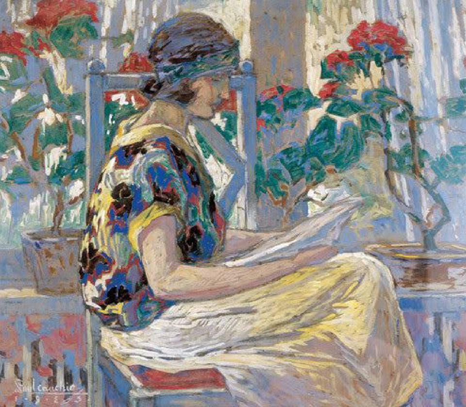 """huariqueje:"""" Suzzane - Paul Cauchie 1923Belgian , 1875-1952Guache, 50 x 60 cm."""""""