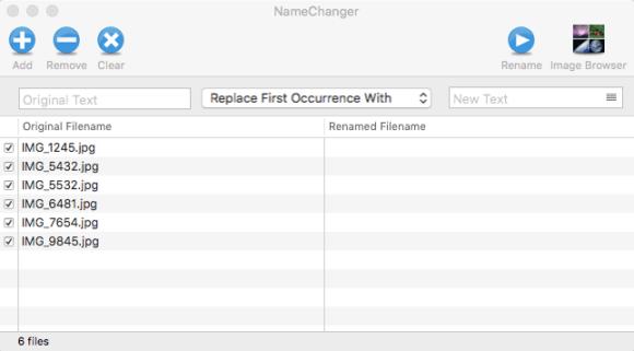 Capture d'écran NameChanger - Ajout de fichiers