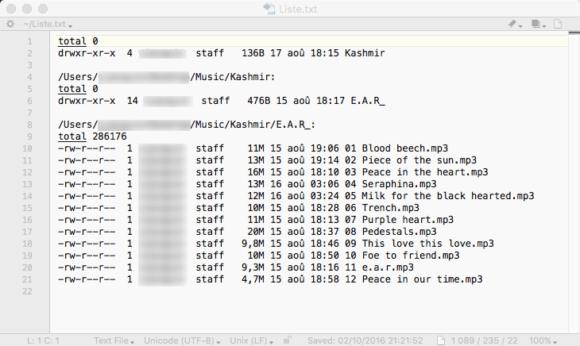 Capture d'écran du fichier généré en ligne de commande