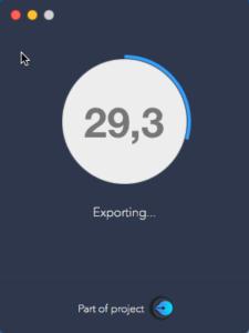 Capture d'écran de l'état d'avancement de l'export