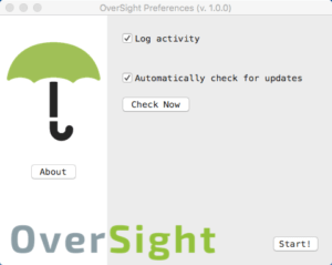 Capture d'écran du menu Préférences d'OverSight