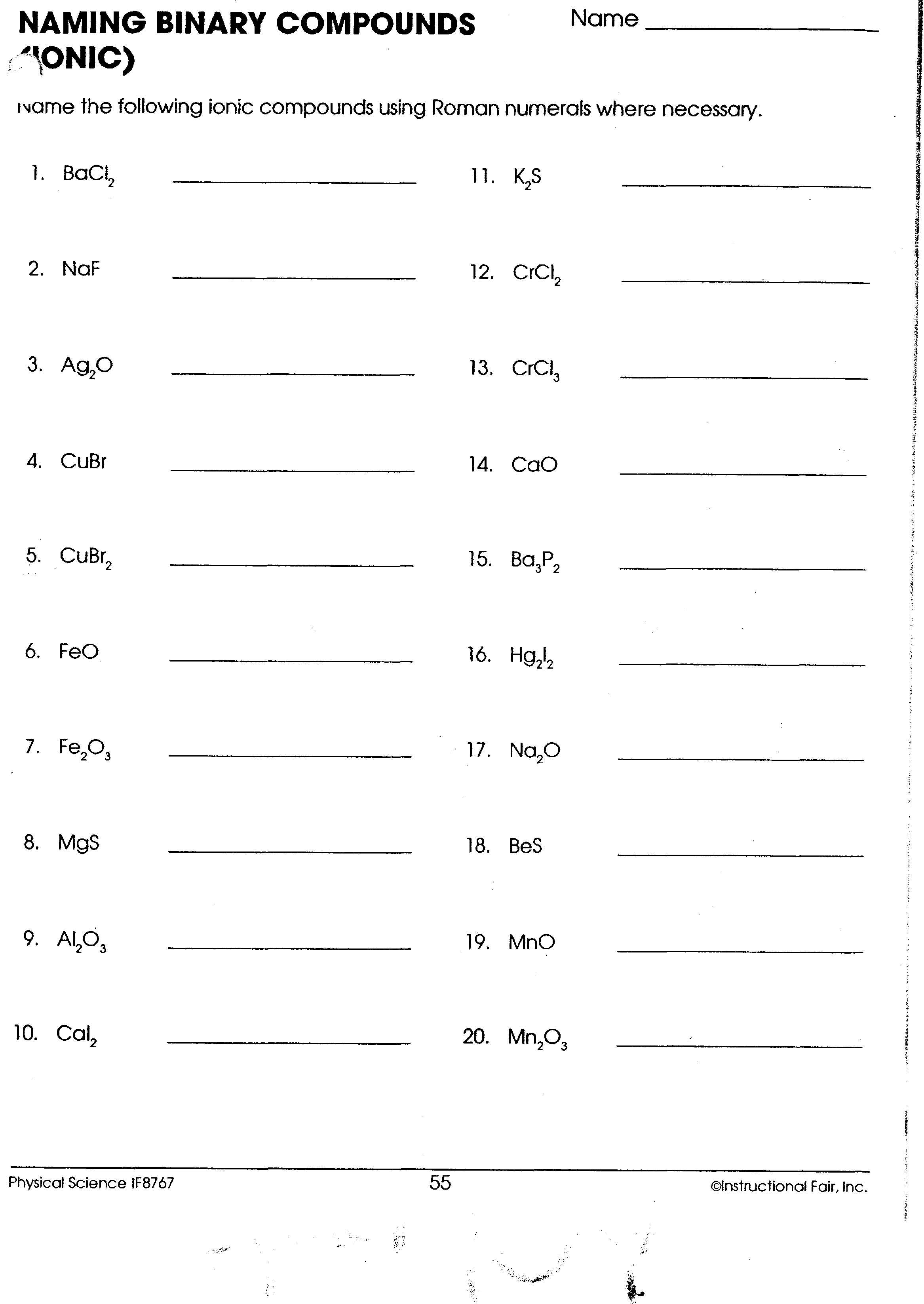 Naming Worksheet 2 Naming Molecular Pounds
