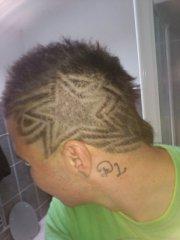 star & tribal haircut design