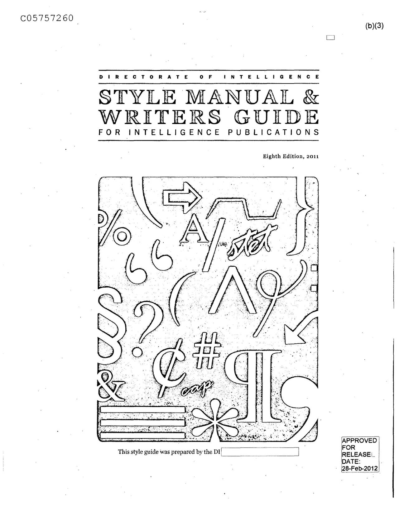 Style Manual & Writer's Guide for Intelligence...