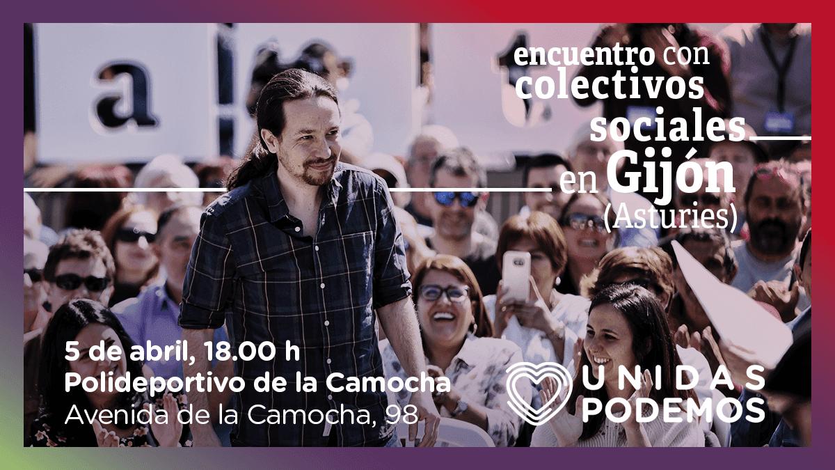 Pablo Iglesias participa en un encuentro con colectivos sociales en Gijón